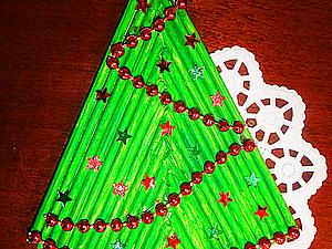 Новогодние открытки из деревянных шпажек | Ярмарка Мастеров - ручная работа, handmade