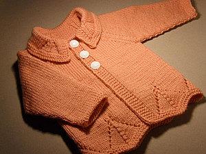 Кофточка с рукавами реглан, связанная снизу (размер 1 год). Часть 1. Ярмарка Мастеров - ручная работа, handmade.