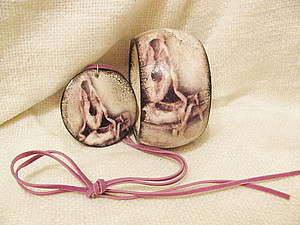 МК по созданию комплекта украшений в технике Декупаж - браслет+серьги+кулон! | Ярмарка Мастеров - ручная работа, handmade