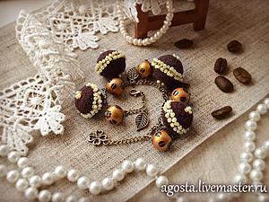 """Делаем браслет """"Coffee time"""" с декорированными бусинами валяными и деревянными. Ярмарка Мастеров - ручная работа, handmade."""