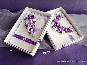 Свадебные открытки в коробочках. Две! И обе в сиреневом цвете:) | Ярмарка Мастеров - ручная работа, handmade