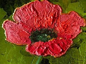 Декор тарелки: рисуем яркий красный мак на зелёном фоне. Ярмарка Мастеров - ручная работа, handmade.