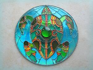 Витражный магнит на диске