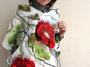 МК по валянию двухстороннего палантина на шелке | Ярмарка Мастеров - ручная работа, handmade