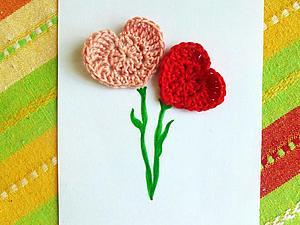 Делаем открытку с вязаными сердечками. Ярмарка Мастеров - ручная работа, handmade.