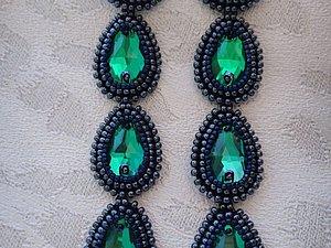 Длинные серьги из бисера с кристаллами | Ярмарка Мастеров - ручная работа, handmade