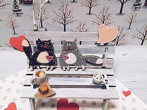 Влюбленная парочка котов к Дню всех влюбленных готова   Ярмарка Мастеров - ручная работа, handmade