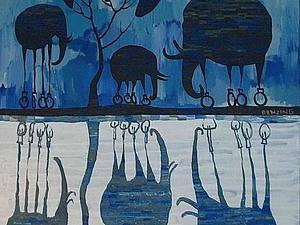 Слоны на колесах и другие картины Geoffrey Benzing | Ярмарка Мастеров - ручная работа, handmade