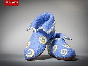 Теплые тапочки-слиперсы мокрым валянием | Ярмарка Мастеров - ручная работа, handmade