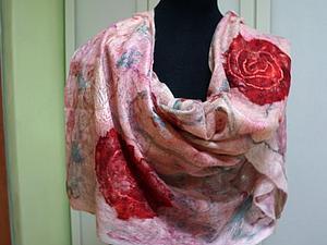 Тончайший палантин из мериносной шерсти и шелковых волокон.   Ярмарка Мастеров - ручная работа, handmade