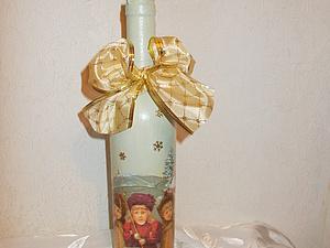 Новогодний декупаж бутылки. Быстро и просто. | Ярмарка Мастеров - ручная работа, handmade