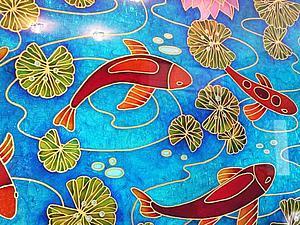 """Расписываем стекло: создаем витражное панно """"Рыбы"""". Ярмарка Мастеров - ручная работа, handmade."""