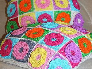 Вяжем квадратный мотив с цветком . Ярмарка Мастеров - ручная работа, handmade.