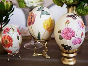 Декупаж на пасхальных яйцах   Ярмарка Мастеров - ручная работа, handmade