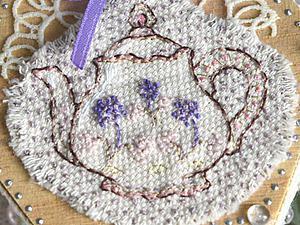 Декорируем деревянную шкатулку. Часть 1: вышиваем чайник свободной техникой. Ярмарка Мастеров - ручная работа, handmade.