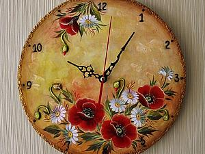 МК в смешанной технике (роспись+объемные элементы) -часы