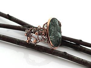Новый браслет с серафинитом, медный | Ярмарка Мастеров - ручная работа, handmade