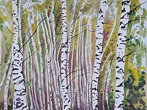 Рисуем акварелью пейзаж «Осень прозрачная». Ярмарка Мастеров - ручная работа, handmade.