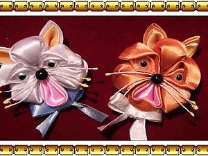Делаем симпатичного котика из атласной ленты. Ярмарка Мастеров - ручная работа, handmade.