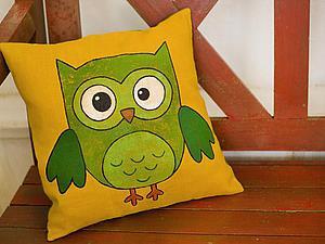 Мастерим подушку с принтом «Милый совенок». Ярмарка Мастеров - ручная работа, handmade.