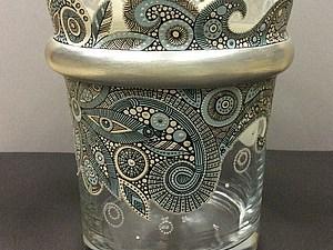 Точечная роспись на стеклянной поверхности. | Ярмарка Мастеров - ручная работа, handmade