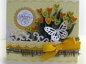 Мастер-класс по созданию открытки с тюльпанами.. Ярмарка Мастеров - ручная работа, handmade.