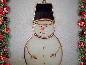 Делаем витражного  снеговичка. Ярмарка Мастеров - ручная работа, handmade.