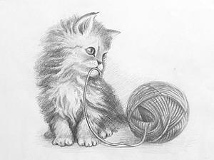 Видео мастер-класс: рисуем котенка карандашом поэтапно | Ярмарка Мастеров - ручная работа, handmade