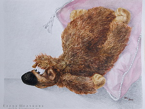 Смешанная техника «акварель+акрил», или Ведмедь от пяток до кончика носа | Ярмарка Мастеров - ручная работа, handmade