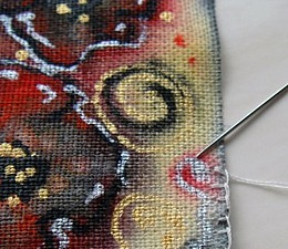 Делаем отрытку, нарисованную на льне. Ярмарка Мастеров - ручная работа, handmade.