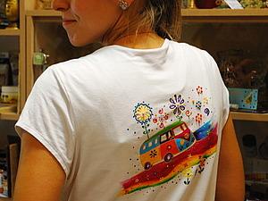 Роспись светлых тканей красками. Футболка с летним мотивом. Ярмарка Мастеров - ручная работа, handmade.