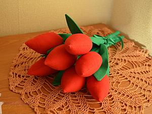 Букет текстильных тюльпанов | Ярмарка Мастеров - ручная работа, handmade