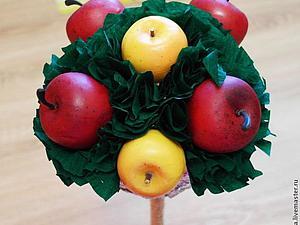 Топиарий из яблок и гофробумаги. Подробный мастер-класс | Ярмарка Мастеров - ручная работа, handmade