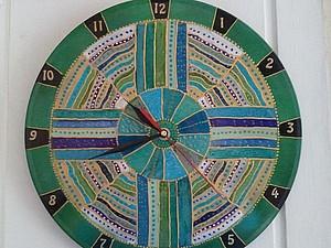 Яркие настенные часы (роспись). Ярмарка Мастеров - ручная работа, handmade.
