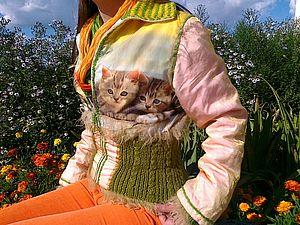 Модная куртка с котятами из подручных материалов | Ярмарка Мастеров - ручная работа, handmade