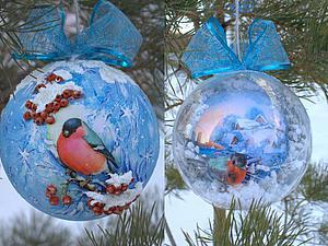 Мастер-класс: декорируем шарик «Снегирь и рябина» | Ярмарка Мастеров - ручная работа, handmade
