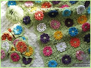 Вязаный плед «Цветочная поляна». Часть 1. Ярмарка Мастеров - ручная работа, handmade.