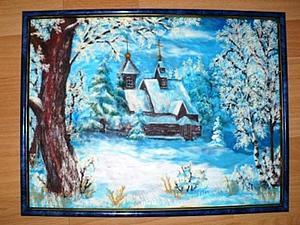 Зимний пейзаж в технике пластилинографии. Ярмарка Мастеров - ручная работа, handmade.