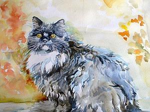 Рисунок акварелью «Осенний кот». Ярмарка Мастеров - ручная работа, handmade.