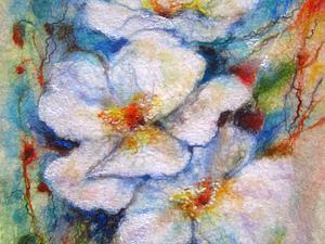 Мастер-класс по мокрому валянию картин из шерсти (Пара под зонтом , белые цветы , пейзаж с маками)   Ярмарка Мастеров - ручная работа, handmade