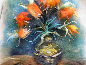 Шерстяной Ван Гог. Часть 2.  Рябчики в бронзовой вазе | Ярмарка Мастеров - ручная работа, handmade