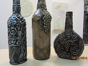 Мастер-класс  «Бутылка с виноградом плюс бутылка с имитацией чеканки»   Ярмарка Мастеров - ручная работа, handmade
