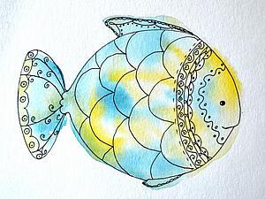 Видео мастер-класс: быстрая иллюстрация «Рыбка». Ярмарка Мастеров - ручная работа, handmade.