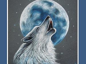«Волк, воющий на луну» в технике сухая пастель. Ярмарка Мастеров - ручная работа, handmade.