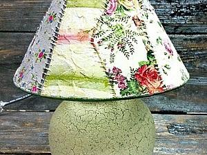 Декупажный пэчворк - имитируем лоскутное шитье! Делаем уникальную лампу!   Ярмарка Мастеров - ручная работа, handmade