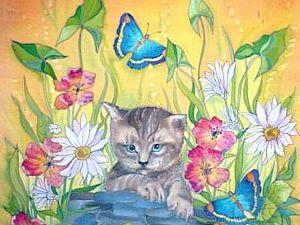 Рисуем котика на шёлке.Пробная работа росписи платочка. | Ярмарка Мастеров - ручная работа, handmade