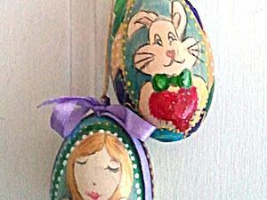 Роспись пасхального яйца-подвески