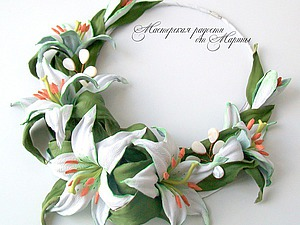 Колье для невесты «Нежность лилий» | Ярмарка Мастеров - ручная работа, handmade