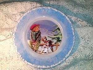 Новинка!!!  «Рождественская Тарелка» обратный декупаж на стекле   Ярмарка Мастеров - ручная работа, handmade