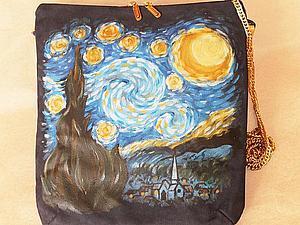 Рисуем «Звездную ночь» Ван Гога на кожаной сумке. Ярмарка Мастеров - ручная работа, handmade.